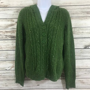 Bass Green Hooded Cable Knit Warm Sweater